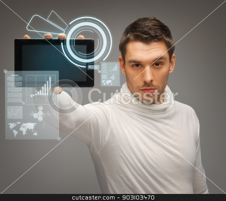 man with tablet pc and virtual screens stock photo, picture of man with tablet pc and virtual screens by Syda Productions