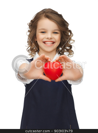 girl with small heart stock photo, picture of beautiful girl with small heart by Syda Productions