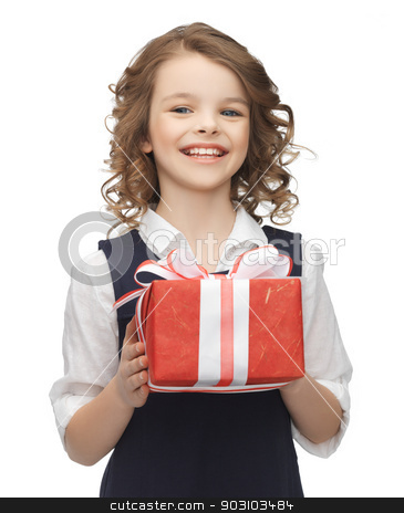 girl with gift box stock photo, picture of beautiful girl with gift box by Syda Productions