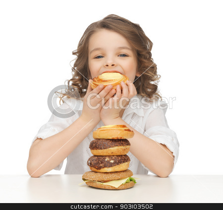 girl with junk food stock photo, picture of beautiful girl with junk food by Syda Productions