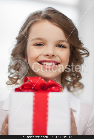 girl with gift box stock photo, picture of beautiful pre-teen girl with gift box by Syda Productions