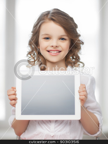 girl with tablet pc stock photo, picture of beautiful pre-teen girl with tablet pc by Syda Productions