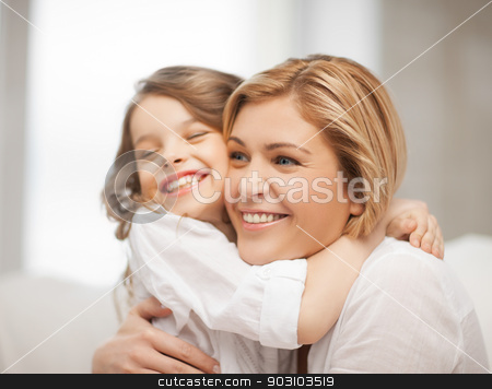 mother and daughter stock photo, bright picture of hugging mother and daughter by Syda Productions