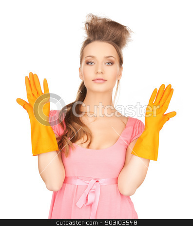 housewife with protective gloves stock photo, picture of beautiful housewife with protective gloves by Syda Productions