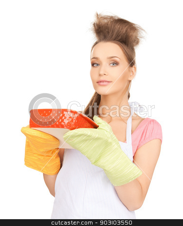 beautiful cooking housewife stock photo, picture of beautiful cooking housewife over white by Syda Productions