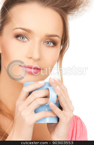 woman with mug stock photo, bright picture of beautiful woman with mug by Syda Productions
