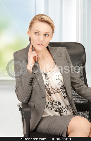 woman thinking stock photo, picture of beautiful woman thinking and looking side by Syda Productions