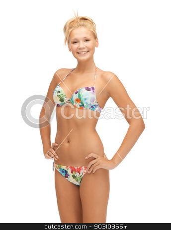 beautiful woman in bikini stock photo, bright picture of beautiful woman in bikini by Syda Productions