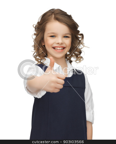 pre-teen girl showing thumbs up stock photo, picture of beautiful pre-teen girl showing thumbs up by Syda Productions