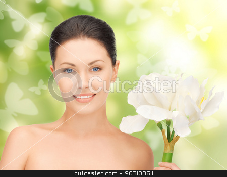 lovely woman with lily flower and butterflies stock photo, bright picture of lovely woman with lily flower and butterflies by Syda Productions