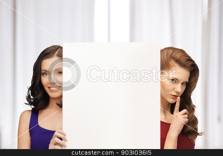 two women with blank board stock photo, picture of two women with blank board by Syda Productions