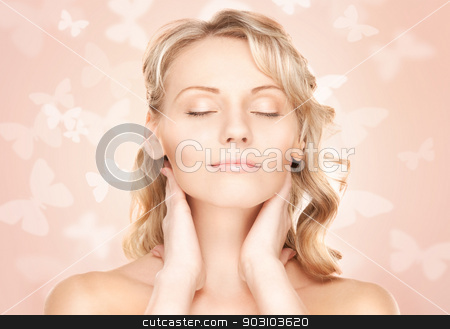 beautiful woman with butterflies stock photo, bright picture of beautiful woman with butterflies by Syda Productions