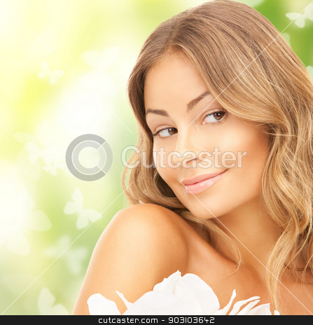 beautiful woman with orchid flower and butterflies stock photo, picture of beautiful woman with orchid flower and butterflies by Syda Productions