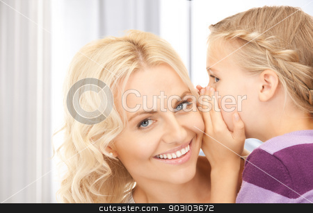 happy mother and child stock photo, bright picture of happy mother and child (focus on girl) by Syda Productions