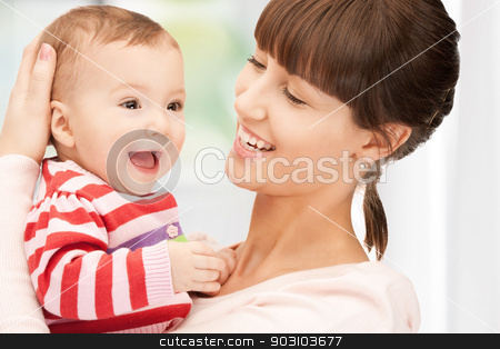 happy mother with adorable baby stock photo, picture of happy mother with adorable baby at home by Syda Productions