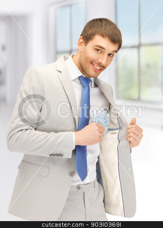 handsome man with euro cash money stock photo, picture of handsome man with euro cash money by Syda Productions