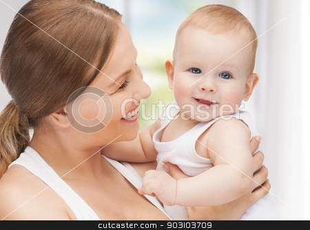 happy mother with adorable baby stock photo, picture of happy mother with adorable baby by Syda Productions
