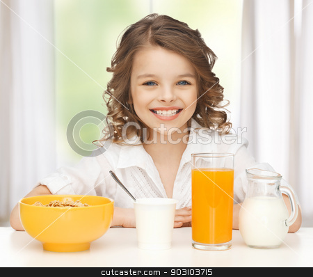 girl with healthy breakfast stock photo, picture of beautiful girl with healthy breakfast by Syda Productions