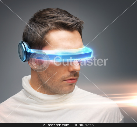 man with futuristic glasses stock photo, picture of handsome man with futuristic glasses by Syda Productions