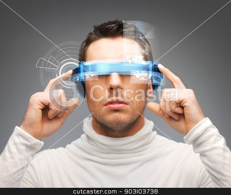 businessman with digital glasses stock photo, picture of handsome businessman with digital glasses by Syda Productions