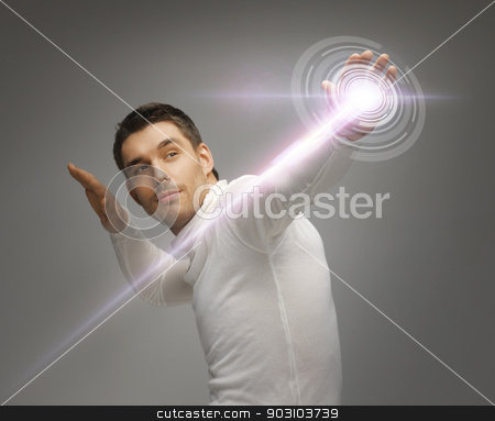 man working with virtual screen stock photo, picture of futuristic man working with virtual screen by Syda Productions