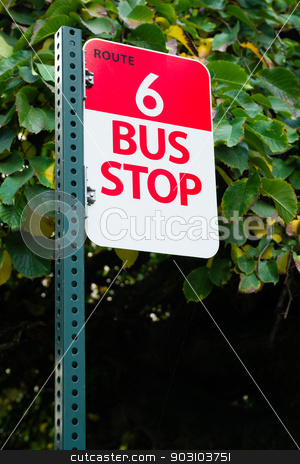 Bus Stop Route 6 Public Transit Downtown City Transportation stock photo, Red and White Sign marks route 6 and the stop to get on and off the bus by Christopher Boswell
