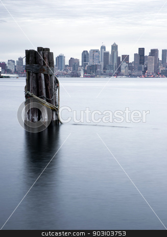 Waterfront Piers Dock Buildings Ferris Wheel Boats Seattle  stock photo, Infrastructure, Buildings, and waterfront attractions Elliott Bay Seattle by Christopher Boswell