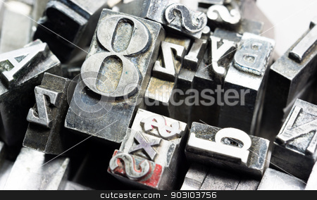 Metal Type Printing Press Typeset Obsolete Typography Text Letter stock photo, Old metal blank printing press typeset all stacked up by Christopher Boswell