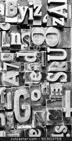 Metal Type Printing Press Typeset Obsolete Typography Text  stock photo, Old metal blank printing press typeset all stacked up by Christopher Boswell