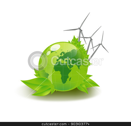 picture of green globe and wind turbines stock photo, closeup picture of green globe and wind turbines by Syda Productions