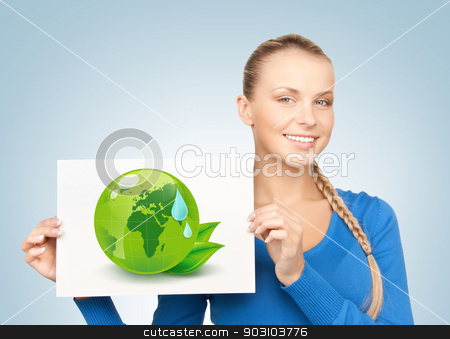 woman with illustration of green eco globe stock photo, young woman with illustration of green eco globe by Syda Productions