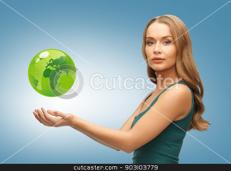 woman holding green globe on her hands stock photo, picture of woman holding green globe on her hands by Syda Productions