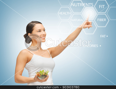 woman with salad and virtual screen stock photo, woman holding salad and working with virtual screen by Syda Productions