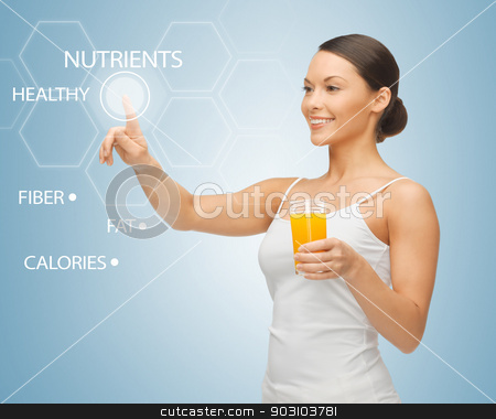 woman with glass of juice and virtual screen stock photo, woman holding glass of juice and working with virtual screen by Syda Productions