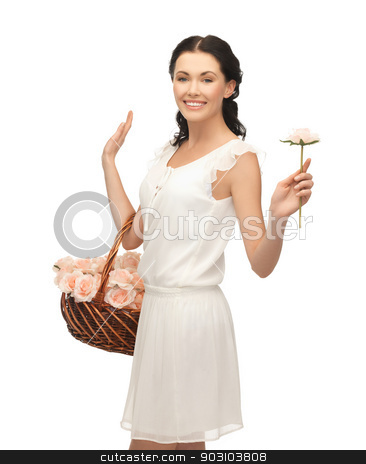 woman with basket full of flowers stock photo, picture of young woman with basket full of flowers. by Syda Productions