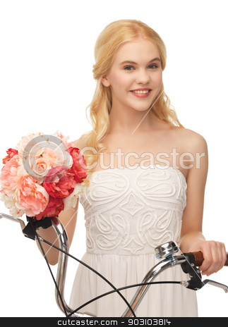 country girl with bicycle and flowers stock photo, picture of country girl with bicycle and flowers by Syda Productions