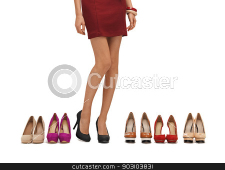 woman's long legs with high heels stock photo, woman's long legs with high heels and shoes. by Syda Productions