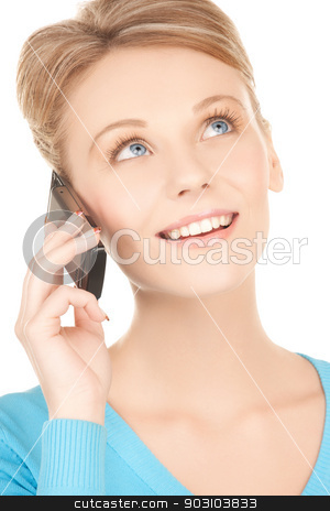businesswoman with cell phone calling stock photo, picture of businesswoman with cell phone calling by Syda Productions