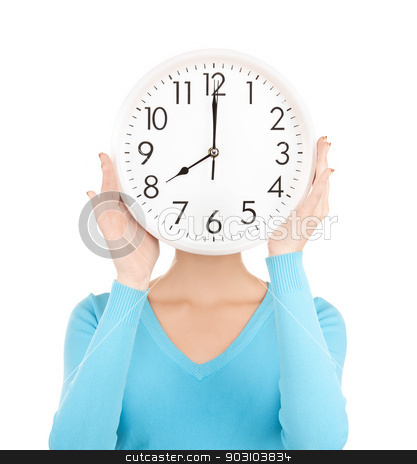 businesswoman with clock over her face stock photo, picture of businesswoman with clock over her face by Syda Productions