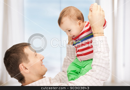 happy father with adorable baby stock photo, happy father with adorable baby by Syda Productions