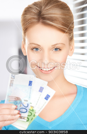 businesswoman with euro cash money stock photo, picture of young businesswoman with euro cash money by Syda Productions