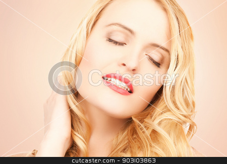 beautiful woman with long blonde hair stock photo, face of beautiful woman with long blonde hair by Syda Productions