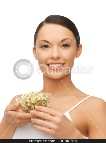 healthy woman holding bowl with sprout stock photo, picture of healthy woman holding bowl with sprout by Syda Productions
