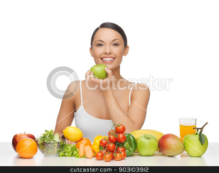 woman with fruits and vegetables stock photo, healthy woman with lot of fruits and vegetables in front by Syda Productions