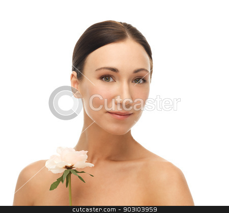picture of smiling woman with rose stock photo, bright picture of smiling woman with rose. by Syda Productions