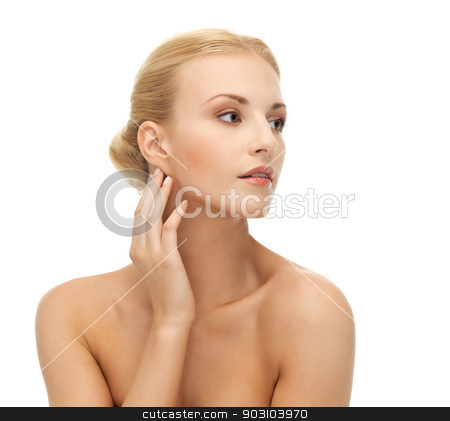 woman touching her face skin stock photo, portrait of beautiful woman touching her face skin by Syda Productions