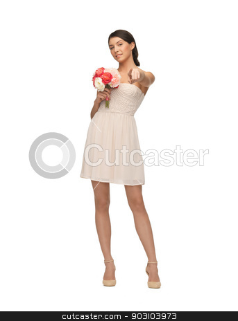 woman with bouquet of flowers stock photo, picture of young woman with bouquet of flowers. by Syda Productions