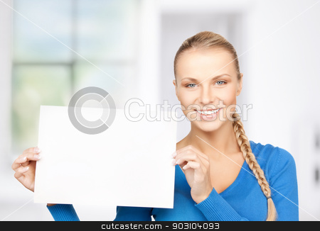 woman with blank board stock photo, bright picture of confident woman with blank board by Syda Productions