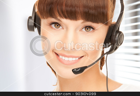 helpline stock photo, bright picture of friendly female helpline operator by Syda Productions