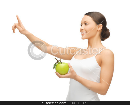 woman with green apple stock photo, woman with green apple pointing her finger at something. by Syda Productions